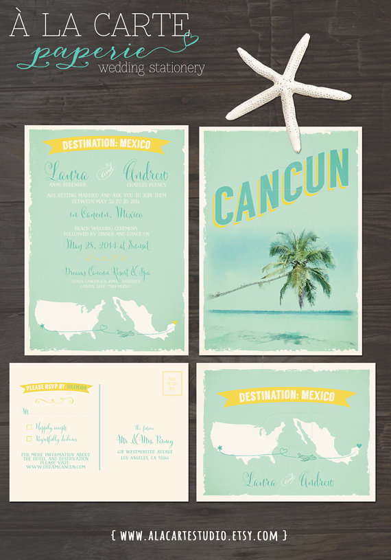 Cancun Mexico Beach Destination Wedding Invitation And Rsvp Cards Design Fee