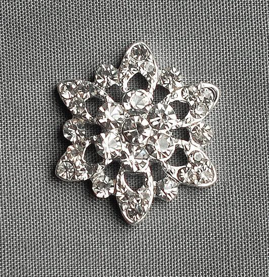 زفاف - 10 Round Circle Diamante Crystal Rhinestone Button Hair Flower Clip Wedding Invitation Scrapbooking Bouquet Jewelry BT028