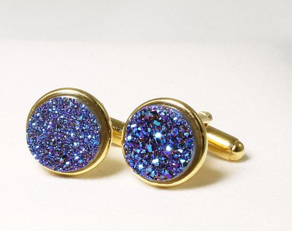 زفاف - Blue Druzy Cuff Link Gold Cuff LInks Titanium Druzy Cuff Links Drusy Cuff Links Druzy Jewelry Drusy Jewelry Wedding Cuff Links