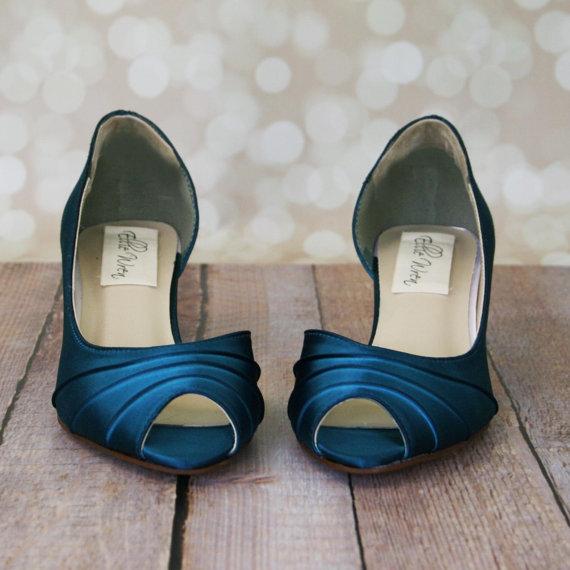 زفاف - Custom Wedding Shoes -- Tealness D'Orsay Style Kitten Heel Peep Toe Wedding Shoes