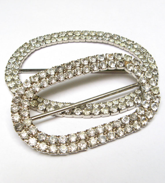 زفاف - VIntage RHINESTONE Buckle LOT Large Rhodium Crystal Craft Jewelry Wear Repair Repurpose Wedding Accessories