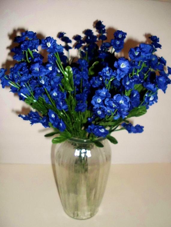 زفاف - Navy Blue Silk Double Babys Breath Filler Flower 5 stems Wedding Bouquet Filler, Scrapbooking Flowers FF1004