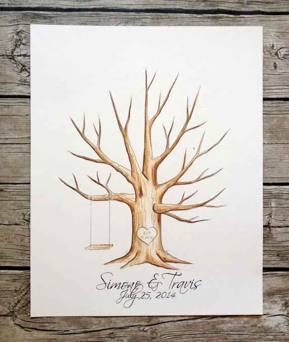 Wedding - Original Wedding tree guestbook Guest Book fingerprint. hand painted - Customize
