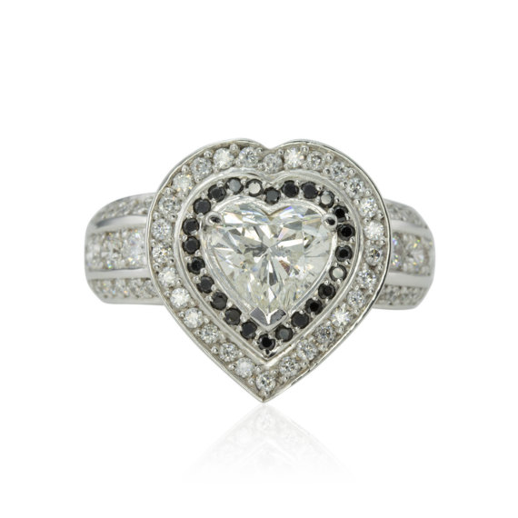 Wedding - Heart Diamond Engagement Ring, Diamond Heart Ring, Black Diamond Ring, Diamond Halo Engagement Ring, Statement Ring - LS3640