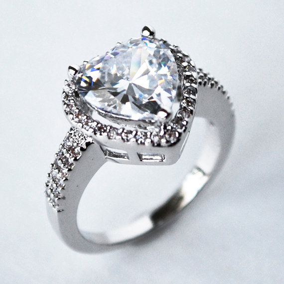 Mariage - cubic zirconia engagement ring, cz ring, cz wedding ring, cz engagement ring, heart cz ring, size 5 6 7 8 9 10 - MC1083511AZ