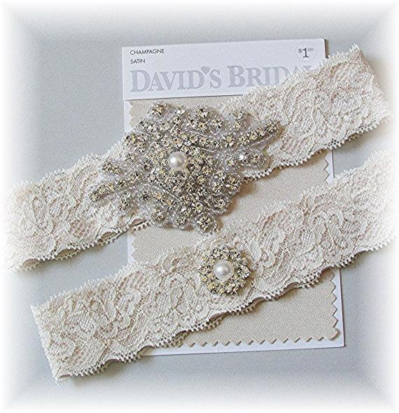 70af479a7 Champagne Stretch Lace Wedding Garter Set - Bridal Garter Set - Wedding  Garter Belt - Keepsake and Toss Vintage Style Garter Set