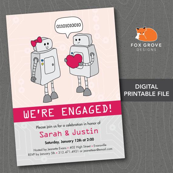 """زفاف - Printable Engagement Party Invitation """"Robots in Love"""" / Customized Digital File (5x7) / Printing Services Available"""