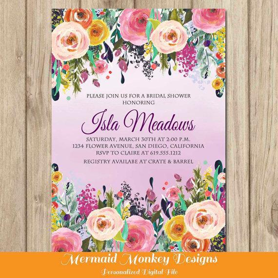 زفاف - Floral Bridal Shower Invitation, Wedding Shower Invitation, Ombre Floral Invitation, Graduation Invitation, Engagement Party - Isla