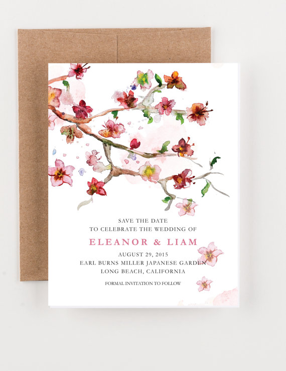 japanese floral garden save the date bridal shower wedding invitation