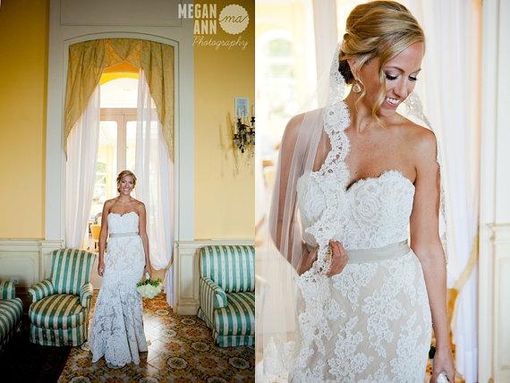 زفاف - Ready to Ship - Silk White One Tier French Alencon Lace Fingertip Wedding Veil