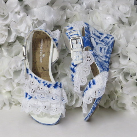 زفاف - Destination Beach Wedding Wedge Size 8 Womens Shoe - Custom Blue Shoes - Bride Shoes - Wedding Shoes - Womens Gifts - Gifts For Her - Gifts
