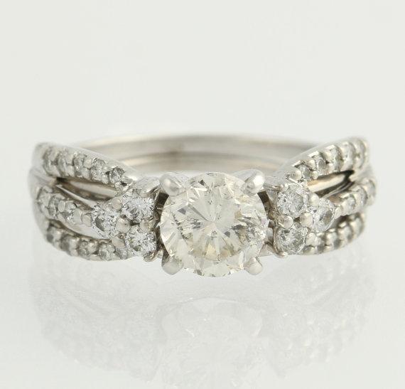 Свадьба - Diamond Solitaire Engagement Ring & Wedding Band Set - 14k White Gold EGL Cert F2477