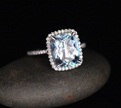 زفاف - Flawless Aquamarine Engagement Ring Diamond Halo Ring in 14k White Gold Aquamarine Cushion 11x9mm and Diamonds
