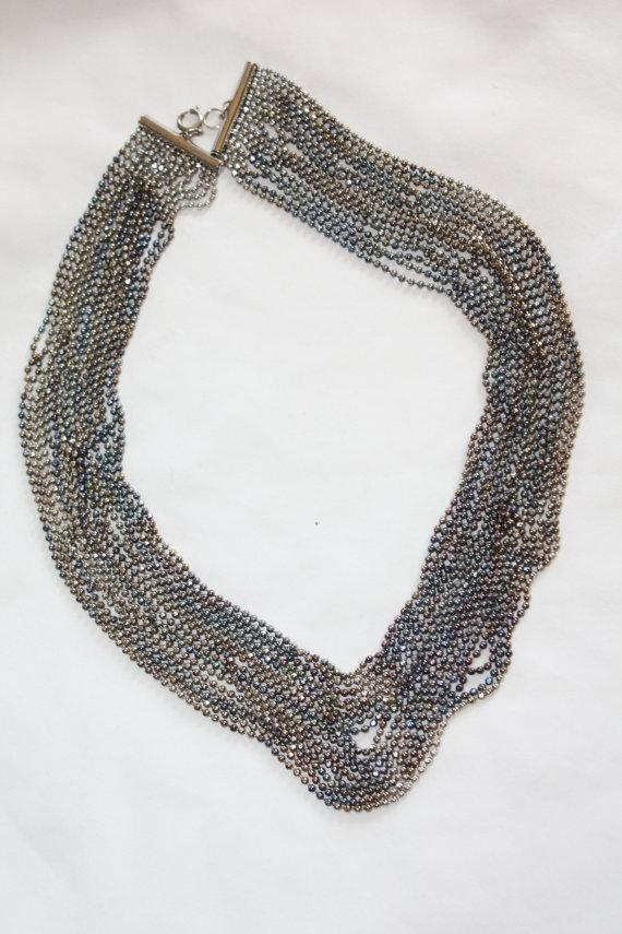 Свадьба - Vintage Torsade Necklace Wide Multi Strand Silver Ball  1950s Jewelry