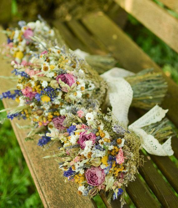 Wild Flowers For Wedding: Summer Wildflowers Bridesmaid Bouquet, Peony Bridal