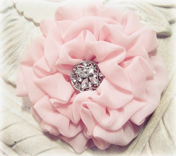 Light pink flower pin brooch and hair clip combination chiffon light pink flower pin brooch and hair clip combination chiffon fabric pastel pink brooch bridesmaid wedding headpiece mightylinksfo