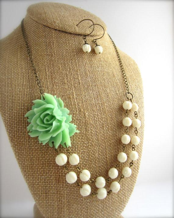 Mariage - Mint Green Statement Necklace Beaded Flower Necklace Double Strand Rustic Wedding Jewelry Mint Bridesmaid Jewelry