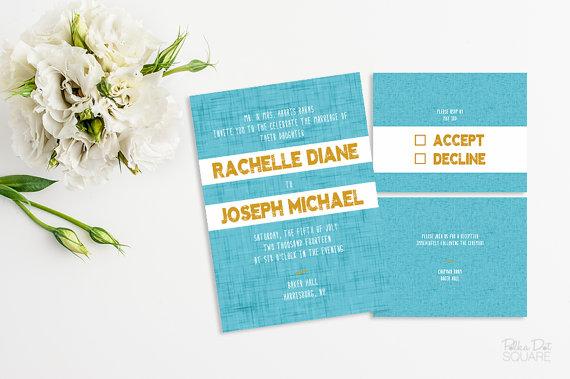 زفاف - Printable wedding invitation set Blue and yellow wedding invitation Modern wedding invitation