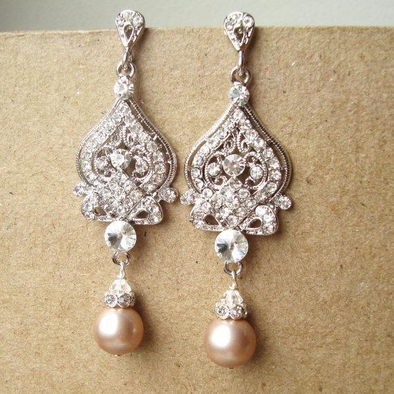 Wedding - Champagne Wedding Earrings, Pearl Wedding Jewelry, Silver Chandelier Bridal Earrings,Vintage Inspired Bridal Jewelry, JACQUELINE