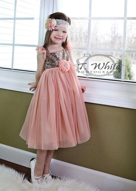 bb3ee1f395e8 Girls Peach Gold Sequence Toddler Dress
