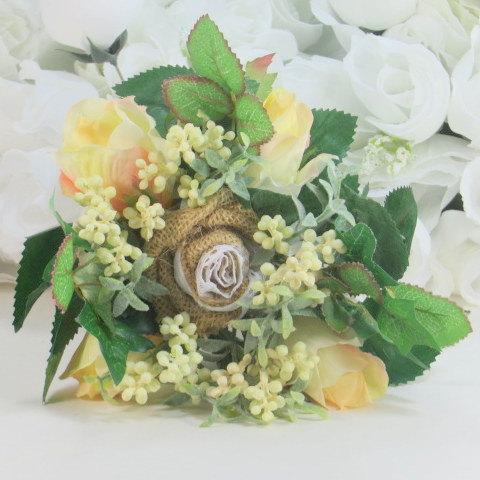 Mariage - Bridesmaid Bouquet - Burlap Wedding - Rustic Wedding - Flower Bouquet - Burlap And Lace - Bridesmaid Accessories - Wedding Bouquets