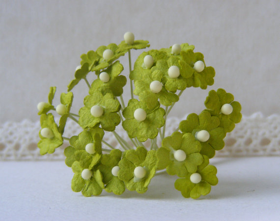 Mariage - 10  mm 20  Lime Green   Mulberry Paper  Flower