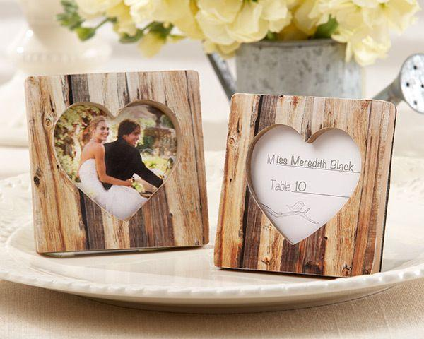 """Wedding - """"Rustic Romance"""" Faux-Wood Heart Place Card Holder/Photo Frame"""