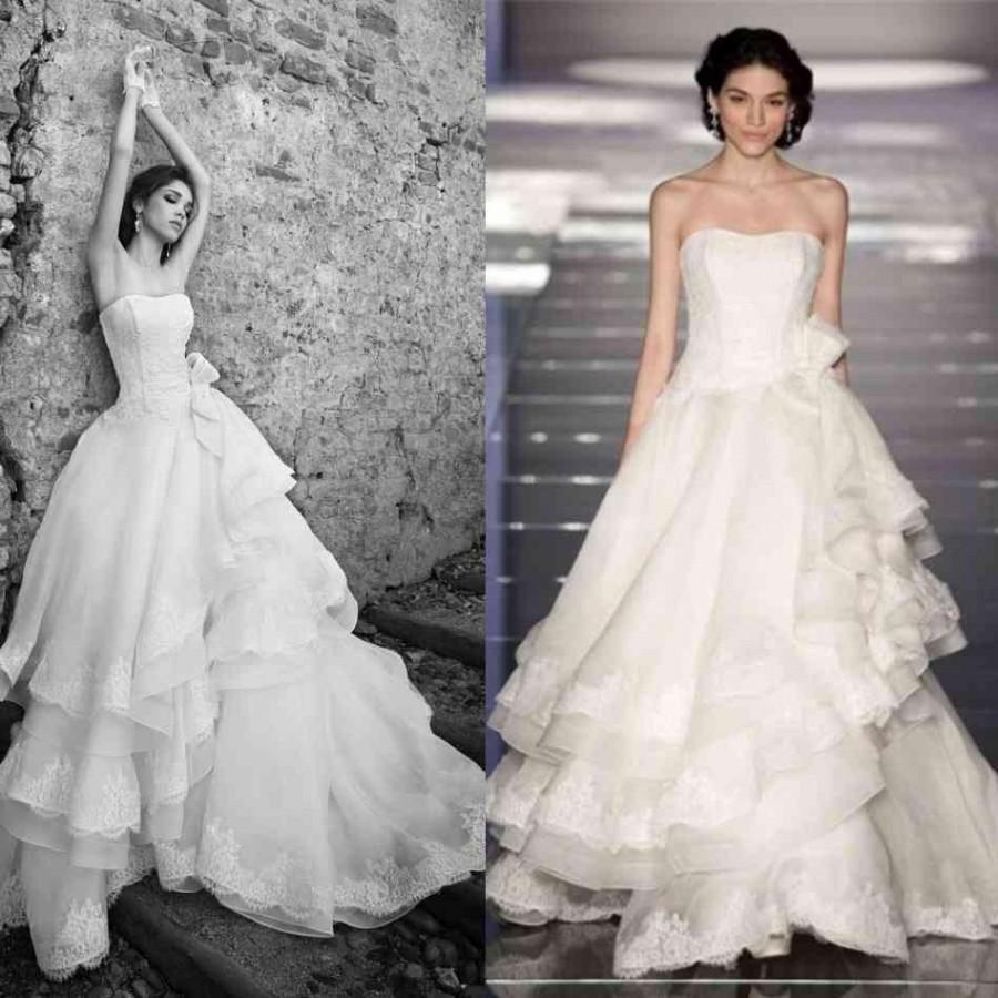 Свадьба - Vintage Alessandra Rinaudo 2015 Wedding Dresses With Strapless Appliques Bow A Line Tiers Sweep Train Organza Glamorous Bridal Ball Gowns Online with $141.52/Piece on Hjklp88's Store