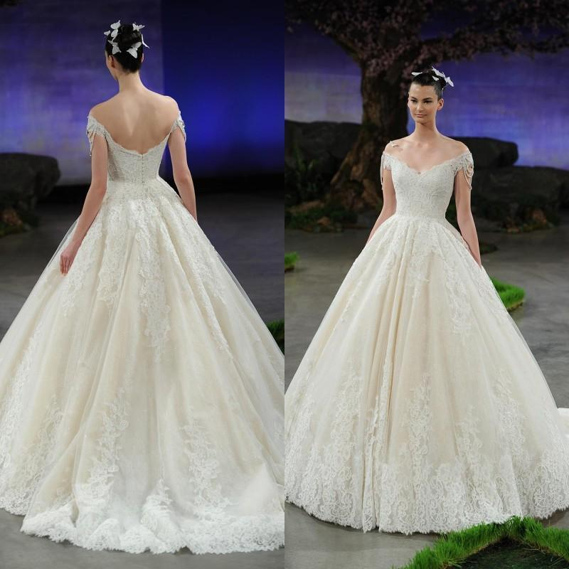 Boda - Exquisite 2015 Wedding Dresses Off The Shoulder Ivory Chapel Train Beads Spring Lace Applique Vintage Bridal Dress Gowns Wedding Ball Custom Online with $144.19/Piece on Hjklp88's Store