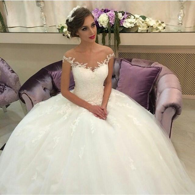 Wedding - Vintage Ball Gown Wedding Dresses 2015 Off The Shoulder Lace Sheer Neck A-Line Capped Tulle Princess Custom Made Bridal Dress Gowns Cheap Online with $133.51/Piece on Hjklp88's Store