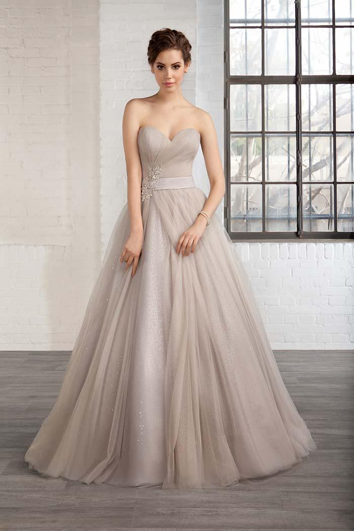 Elegant Gray Wedding Dresses Bridal Gown With Crystals Sash Beads Color Sweetheart Sequins Sweep Train Custom Made Ball Gowns Dress Online