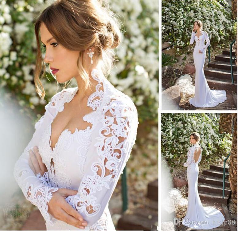 Wedding - 2015 New V-Neck Long Sleeve Wedding Dresses Cheap Appliques Lace Sexy Open Back Sexy Illusion Sheer Sweep Train Wedding Gowns For Summer Online with $130.84/Piece on Hjklp88's Store