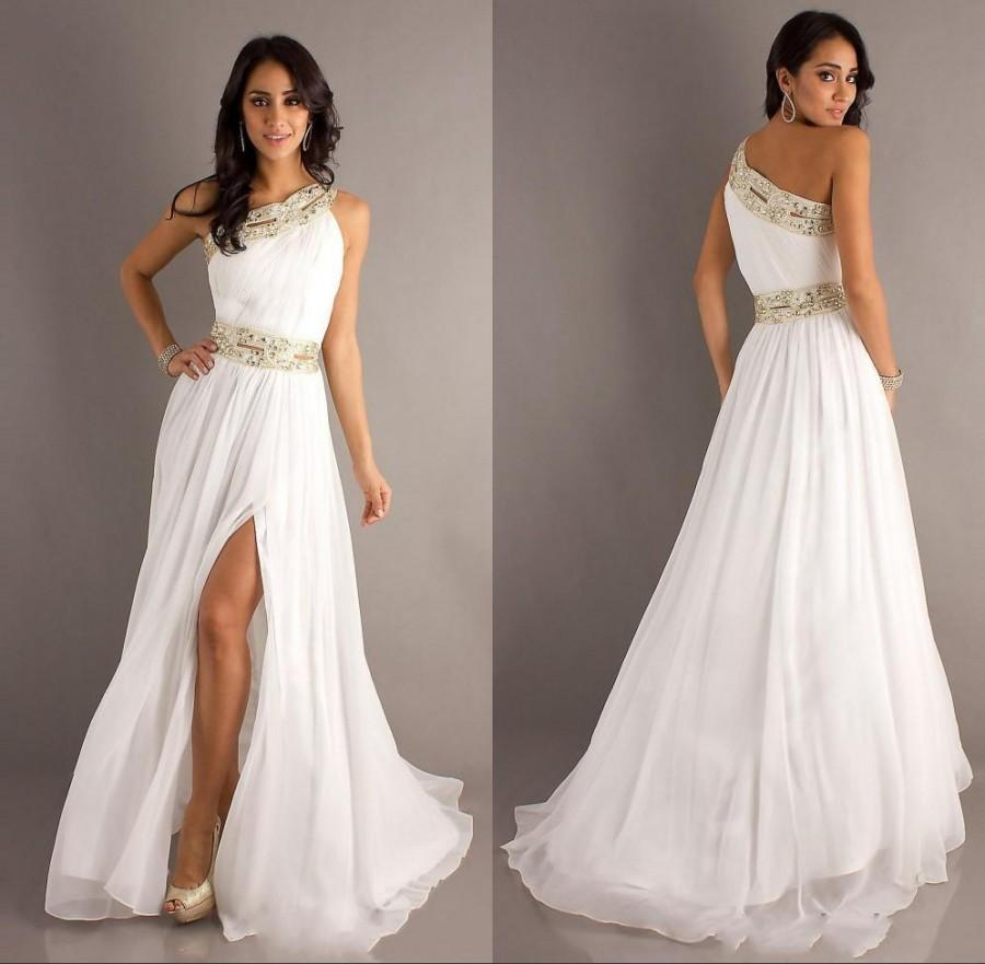 2015 New Arrival Sexy Long White Prom Party Dresses One Shoulder ...