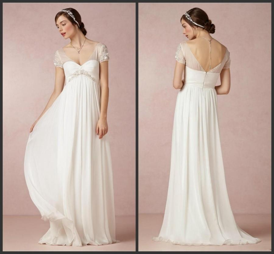 Beach wedding dresses 2015 cheap bridal gowns with cap for Cheap chiffon wedding dresses