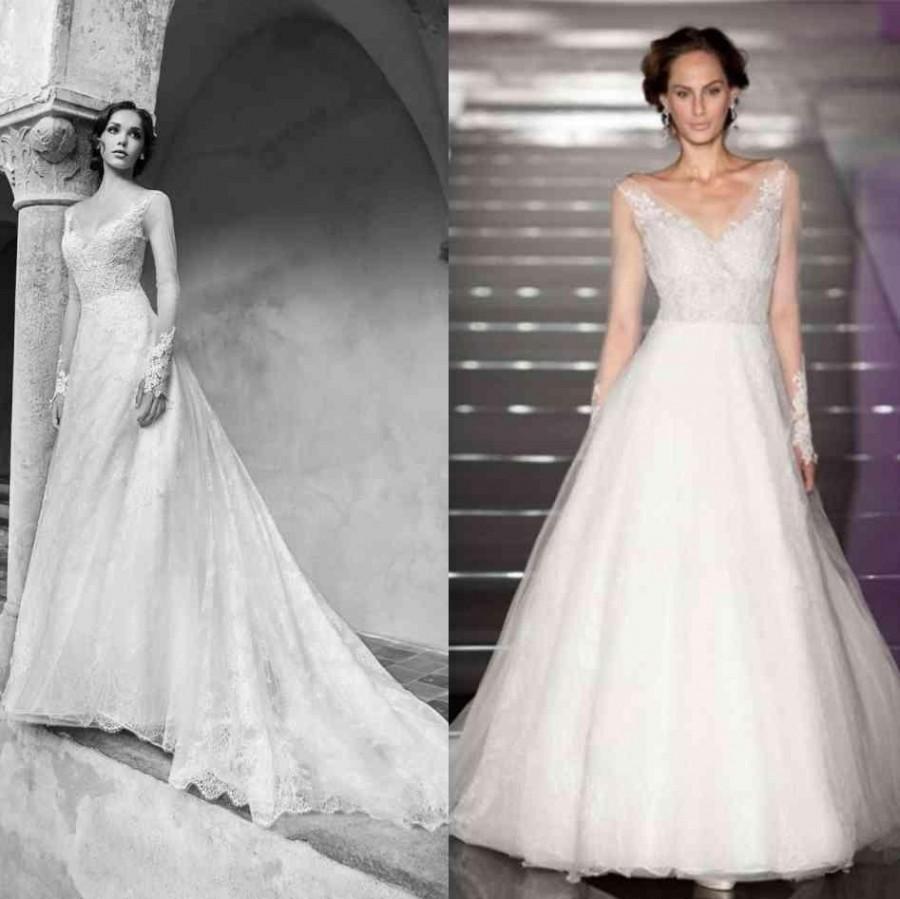Fall long sleeve 2015 wedding dresses v neck sheer for Long sleeve v neck wedding dress