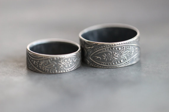 his and hers wedding bands paisley wedding rings embossed sterling silver rustic promise rings engagement rings - Rustic Wedding Rings