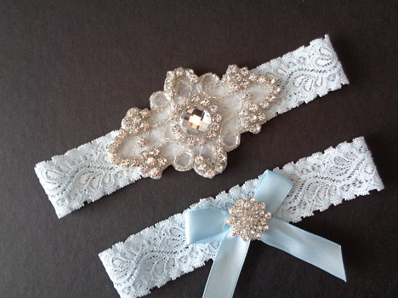 Hochzeit - Francesca Wedding Garter French Insprired 4 Colors Rhinestone Center Piece Lingerie Lace  Rhinestone Cluster and Toss