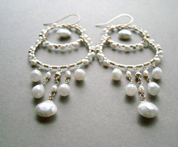 Wedding - White Gemstone Chandelier Earrings, Silverite Earrings, Mystic Corundum, Silverite Chandelier Earrings, Wedding Jewelry