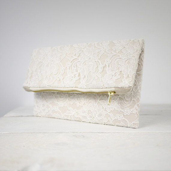 Mariage - Cute lace fold over clutch, fold over wedding lace clutch, bridesmaid gift