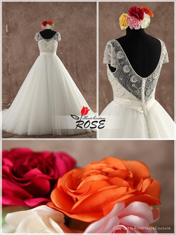 زفاف - Gorgeous Beaded Top Ball Gown Wedding Dress Organza Skirt with Chapel Train Style WD128