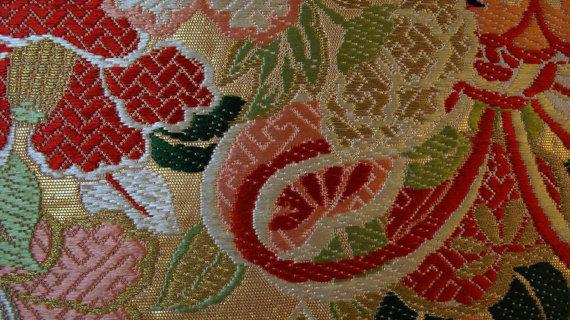 زفاف - Rare all in one piece silk Maru obi Japanese Geisha sash - vintage ornate fabric - 28 x 168 inches long