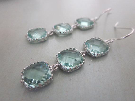 Hochzeit - Prasiolite Earrings Light Green Earrings Sterling Silver Earwires - Bridesmaid Earrings - Bridal Earrings - Wedding Earrings