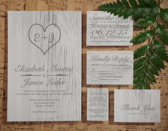 White Country Wedding Invitation SetSuite Invites Save The Date