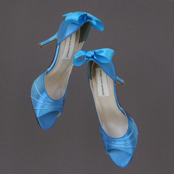 Mariage - Wedding Shoes -- Beyond the Sea Blue Peep Toe Wedding Shoes with Matching Bown on the Heel