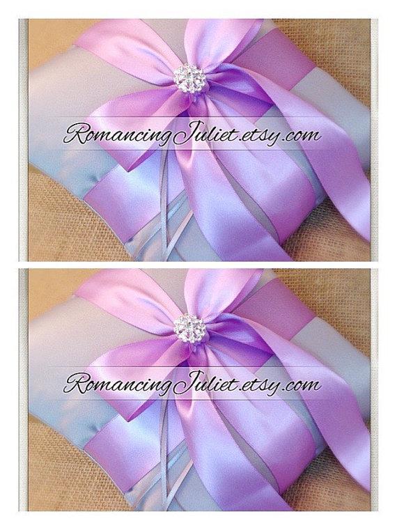 زفاف - Romantic Satin Elite Ring Bearer Pillow...You Choose the Colors...SET OF 2...shown in silver gray/lilac