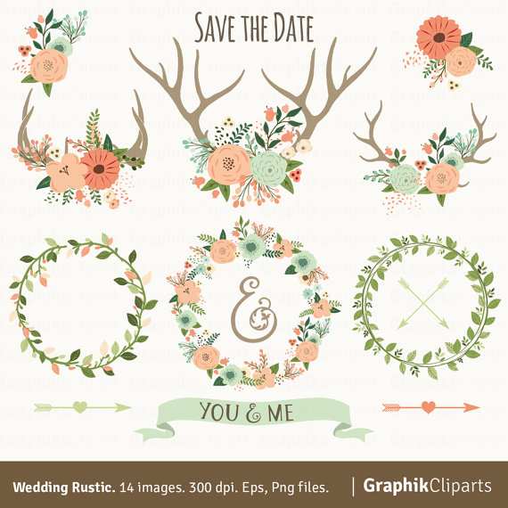 Rustic Wedding Clipart WEDDING CLIPART Floral Antlers Wreaths Arrows 14 Images 300 Dpi Eps Png Files Instant Download