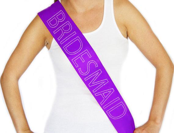"Mariage - Rhinestone ""Bridesmaid"" Purple Sash, Bachelorette Party, Wedding Shower, Bridal Party, Engagement Party"