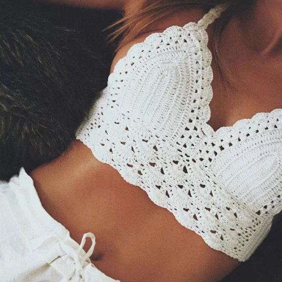 b2d1789469 White Crochet Knit Bralette Bikini Bra Crop Top  2304589 - Weddbook