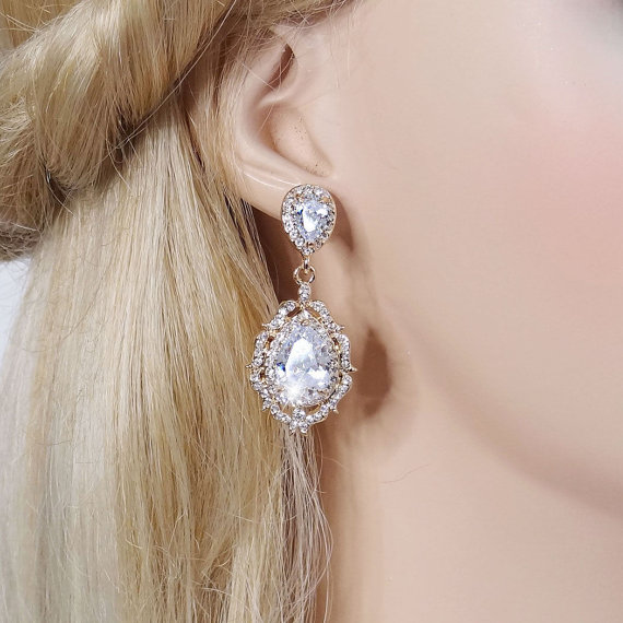 "Mariage - Bridal Earrings ""Cubic Zirconia""  Gold Wedding Earrings Wedding Jewelry Bridal Jewelry Drop Earrings Style-575"