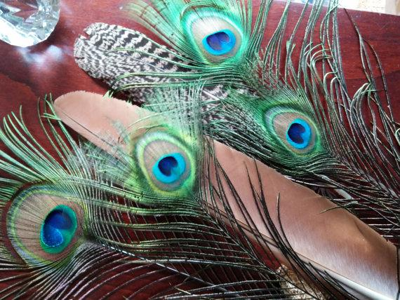 """Hochzeit - Peacock Feather Bundle, 2 Smudge, Two 3""""and Two 1.5""""All Seeing Eye Feathers,  Naturally Shed, Craft feathers,Center pieces, Corsage, Bouquet"""